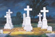North Carolina artist J. Chris Wilson's Landscape Painting <em>Cross Garden, Battle Cemetery at Old Town</em> see also &quot;From Murphy to Manteo--An Artist's Scenic Journey&quot;