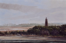 North Carolina artist J. Chris Wilson's Landscape Painting <em>Study for the Bald Head Light,Brunswick County</em> &quot;From Murphy to Manteo--An Artist's Scenic Journey&quot;