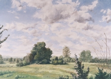 North Carolina artist J. Chris Wilson's Landscape Painting <em>Shambley Meadows, Chatham County</em> from &quot;From Murphy to Manteo--An Artist's Scenic Journey&quot;