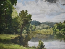 North Carolina artist J. Chris Wilson's Landscape Painting <em>Cherokee Lake, Cherokee County</em> &quot;From Murphy to Manteo--An Artist's Scenic Journey&quot;