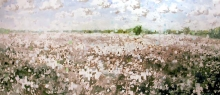 North Carolina artist J. Chris Wilson's Landscape Painting <em>Cotton Field with Overshot Squares</em> see also &quot;From Murphy to Manteo--An Artist's Scenic Journey&quot;