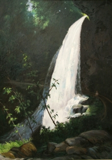North Carolina artist J. Chris Wilson's Landscape Painting <em>Dry Falls, Macon County</em> &quot;From Murphy to Manteo--An Artist's Scenic Journey&quot;