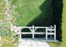 North Carolina artist J. Chris Wilson's Landscape Painting <em>Garden Bench Alcove at Great Dixter</em> see also &quot;From Murphy to Manteo--An Artist's Scenic Journey&quot;