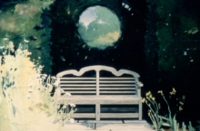 North Carolina artist J. Chris Wilson's Landscape Painting <em>Garden Bench, Sissinghurst, England</em> see also &quot;From Murphy to Manteo--An Artist's Scenic Journey&quot;