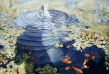 North Carolina artist J. Chris Wilson's Landscape Painting <em>Goldfish Pool with My Shadow</em> see also &quot;From Murphy to Manteo--An Artist's Scenic Journey&quot;