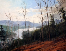 North Carolina artist J. Chris Wilson's Landscape Painting <em>Hickory Nut Gorge with Lake Lure</em> &quot;From Murphy to Manteo--An Artist's Scenic Journey&quot;