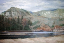North Carolina artist J. Chris Wilson's Landscape Painting <em>The Beach at Lake Lure, Rutherford County</em> &quot;From Murphy to Manteo--An Artist's Scenic Journey&quot;