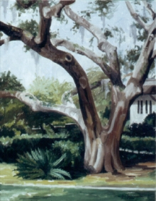 North Carolina artist J. Chris Wilson's Landscape Painting <em>Live Oak with Sago Palm, St. Simons Island, GA</em> see also &quot;From Murphy to Manteo--An Artist's Scenic Journey&quot;