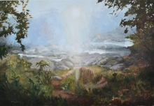 North Carolina artist J. Chris Wilson's Landscape Painting <em>Morning Mist at the Falls of the Tar River, Nash County</em> &quot;From Murphy to Manteo--An Artist's Scenic Journey&quot;