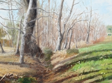 North Carolina artist J. Chris Wilson's Landscape Painting <em>Study for Poplar Spring, Franklin County</em> &quot;From Murphy to Manteo--An Artist's Scenic Journey&quot;