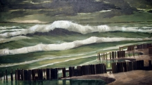 North Carolina artist J. Chris Wilson's Landscape Painting <em>Nor'easter on the Roanoke Sound, Dare County</em> &quot;From Murphy to Manteo--An Artist's Scenic Journey&quot;