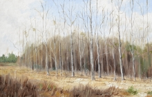 North Carolina artist J. Chris Wilson's Landscape Painting <em>Study for Sentinels, Davie County</em> &quot;From Murphy to Manteo--An Artist's Scenic Journey&quot;