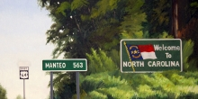 North Carolina artist J. Chris Wilson's Landscape Painting <em>The Start of the Murphy to Manteo Highway</em> &quot;From Murphy to Manteo--An Artist's Scenic Journey&quot;