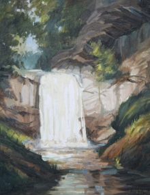 North Carolina artist J. Chris Wilson's Landscape Painting <em>Study Looking Glass Falls, Transylvania</em> &quot;From Murphy to Manteo--An Artist's Scenic Journey&quot;