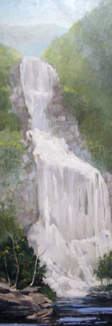North Carolina artist J. Chris Wilson's Landscape Painting <em>Study Whitewater Falls, Transylvania County on the Jackson County Line</em> &quot;From Murphy to Manteo--An Artist's Scenic Journey&quot;