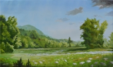 North Carolina artist J. Chris Wilson's Landscape Painting <em>Summer Meadow on Cane Creek</em> &quot;From Murphy to Manteo--An Artist's Scenic Journey&quot;