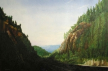 North Carolina artist J. Chris Wilson's Landscape Painting <em>Winding Steps towards Franklin, Macon County</em> &quot;From Murphy to Manteo--An Artist's Scenic Journey&quot;