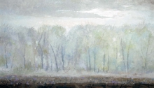 North Carolina artist J. Chris Wilson's Landscape Painting <em>Fog at Cool Spring with Cut Over Cotton Field</em> see also &quot;From Murphy to Manteo--An Artist's Scenic Journey&quot;